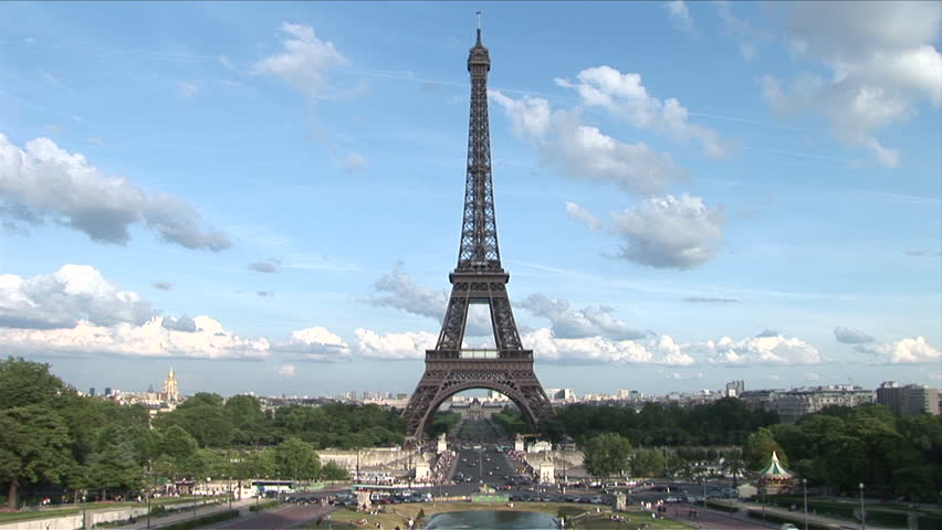 View of Eiffel Tower on a sunny day in Paris France | Shutterstock HD Video #2402399