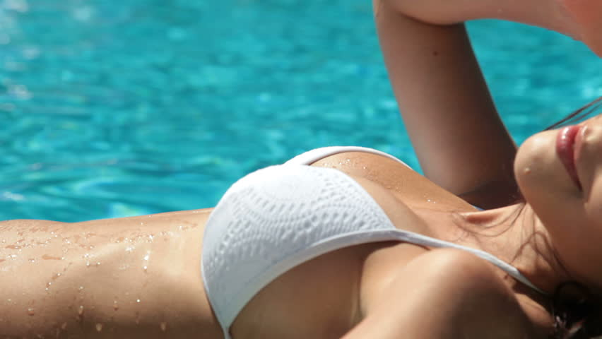 Young Woman Lying on Air Bed In Swimming Pool - HD stock video clip