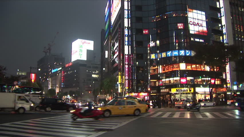 View of City Street at night in Tokyo Japan - HD stock video clip
