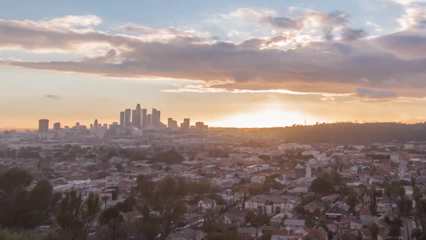 4K timelapse of the city skyline at spectacular sunset. Downtown, Los Angeles. Zooming out. | Shutterstock HD Video #24232916