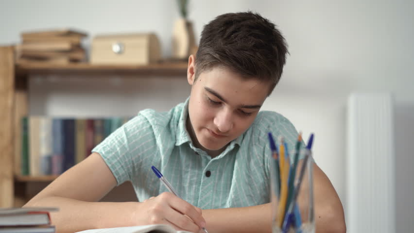 Boy writes and does the lessons | Shutterstock HD Video #24240989