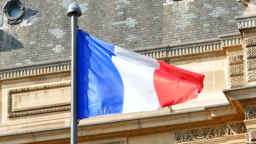 4K France Flag, French National Symbol, Blue White and Red, Paris Background   Shutterstock HD Video #24243095