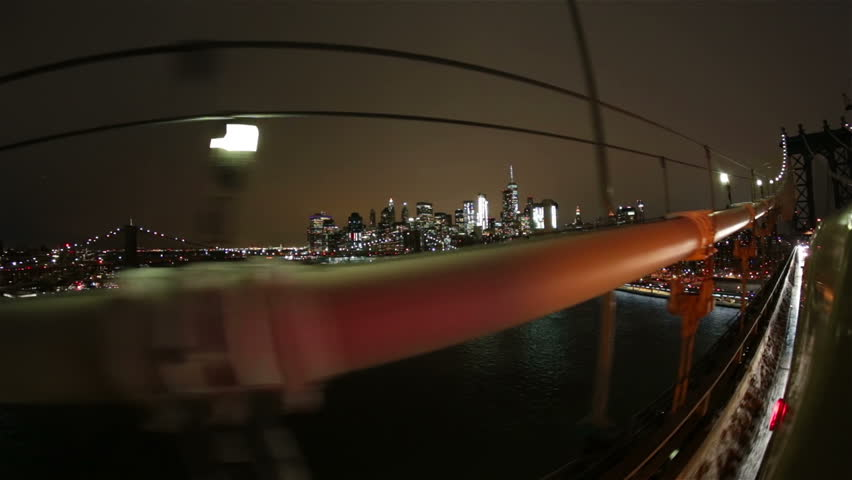 New York City night driving POV on Brooklyn bridge financial district downtown | Shutterstock HD Video #24252302