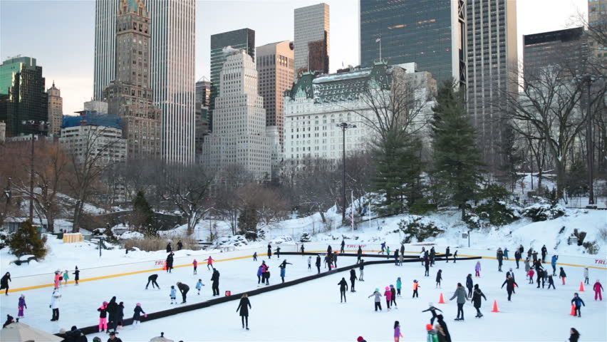 People, families, ice skating in Central Park New York City | Shutterstock HD Video #24252347