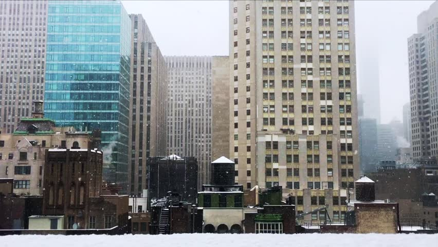 New York City with Snow Falling | Shutterstock HD Video #24266585