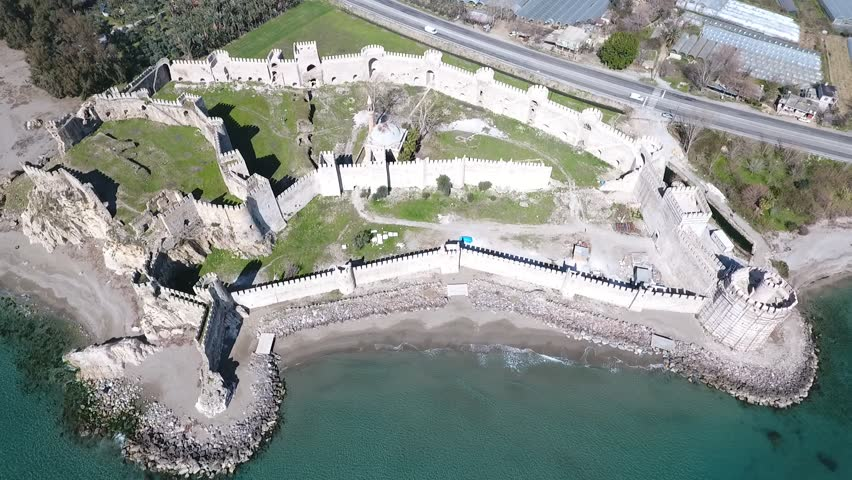 Aerial view of Mamure Castle in Anamur, Turkey. | Shutterstock HD Video #24318461