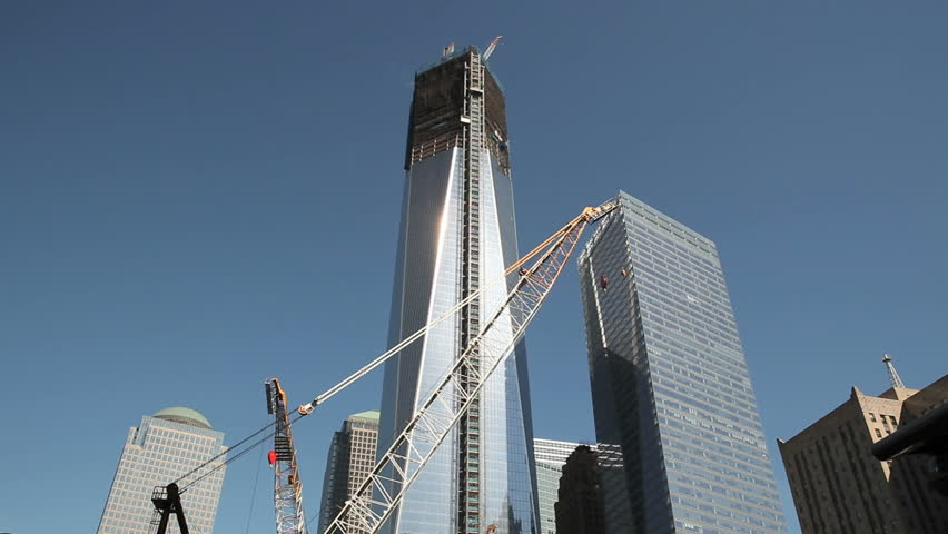 NEW YORK CITY - JUN 15: Construction on One World Trade Center (formerly  Freedom Tower) after reaching the 100th floor and surpassing the Empire State building on June 15, 2012 in New York City, USA - HD stock video clip
