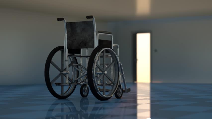 A wheelchair indoors render 3D   Shutterstock HD Video #24372740