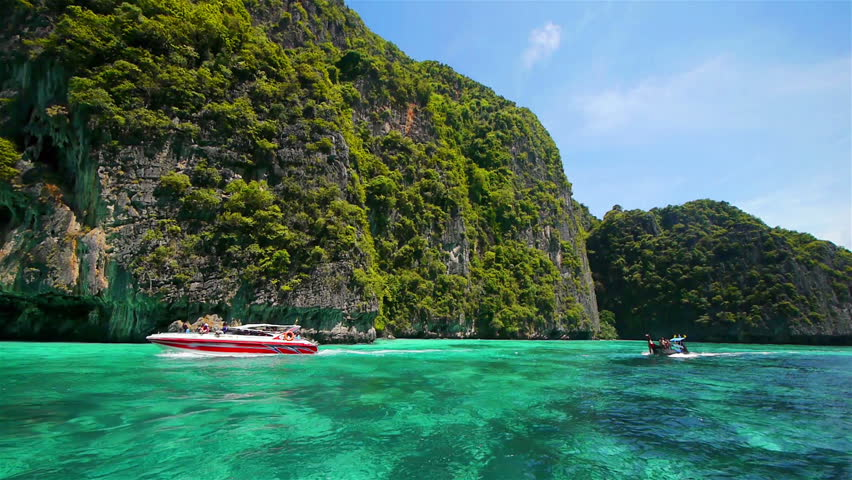 Boat trip to tropical islands, Thailand - HD stock footage clip