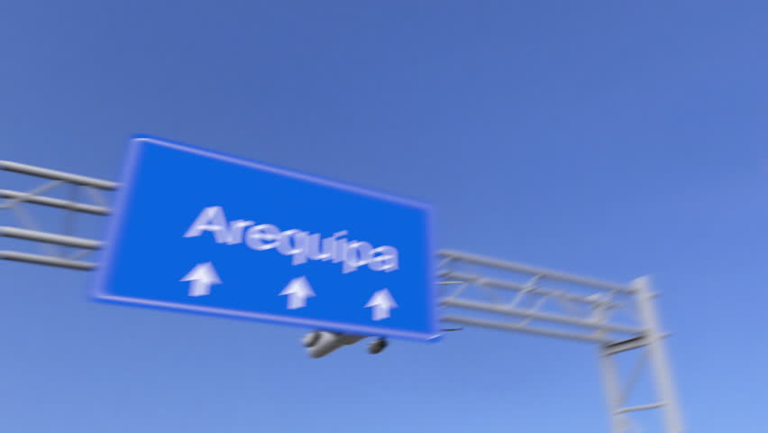 Commercial airplane arriving to Arequipa airport. Travelling to Peru conceptual 4K animation