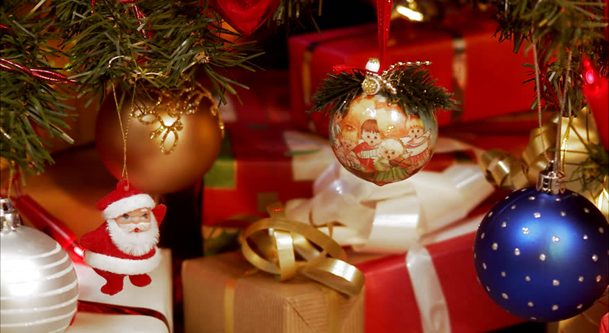 Christmas tree decorations and presents