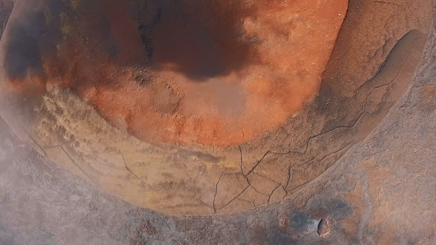 Aerial View. Fantastic view of the volcano. aerial view look into the crater. Video for background