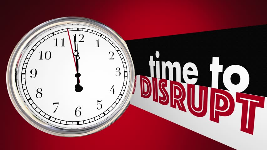 Time to Disrupt Change Evolve Shake Things Up Clock 3d Animation #24562991