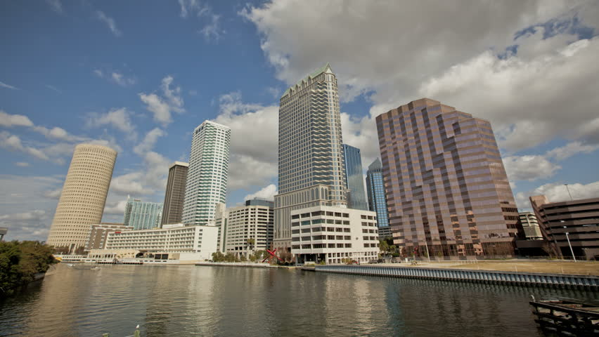 TAMPA DEC 29: Timelapse of clouds passing by Tampa Skyline at the Riverfront on