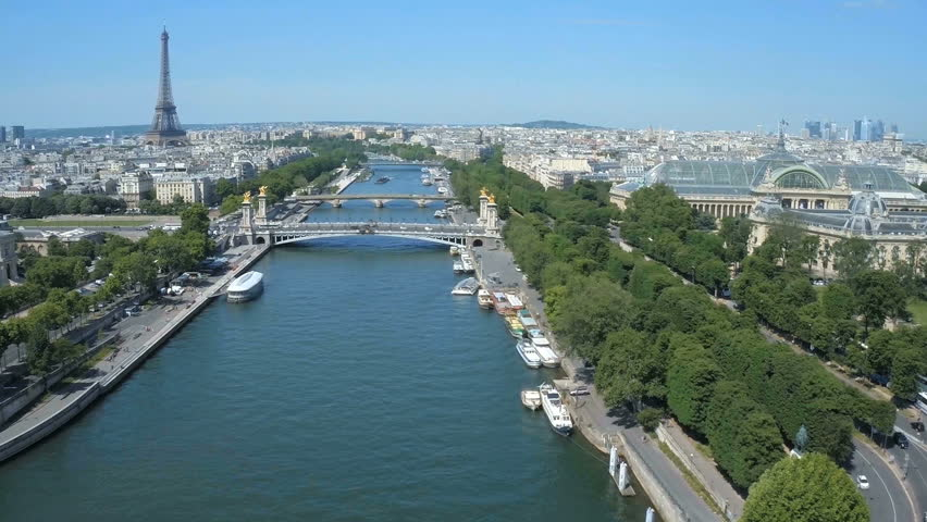 Fly over Paris with Seine river and Eiffel tower | Shutterstock HD Video #24606506