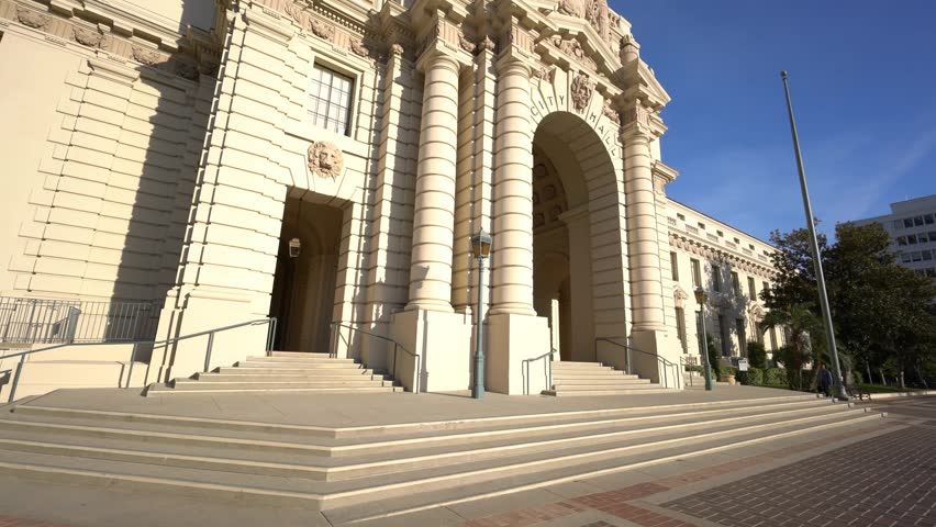 Pan shot of the beautiful and classical Pasadena City Hall, Los Angeles, California | Shutterstock HD Video #24632012