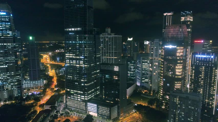 Singapore at night Traffic lights Night lifes Aerial footage Night skyscrapers | Shutterstock HD Video #24659822