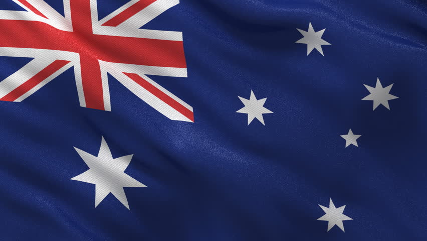Flag of Australia waving in the wind - seamless loop with highly detailed fabric texture - HD stock footage clip