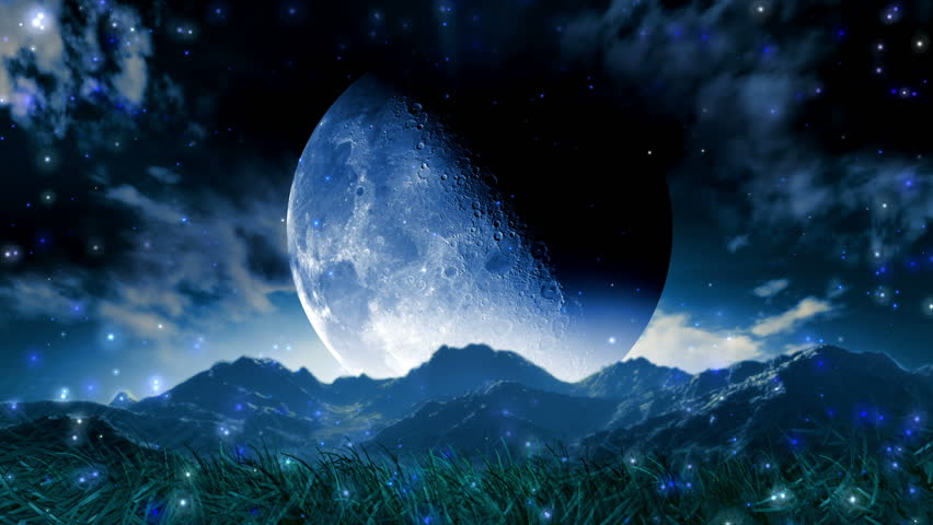 Moon Dream Landscape Scenic Space Animation