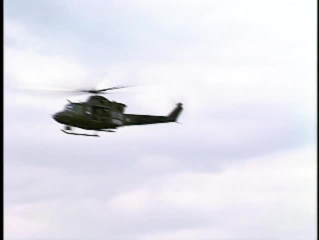 Kosovo, former Yuogoslavia, helicopter fly over checkpoint border (BetacamSP, good audio) - SD stock footage clip