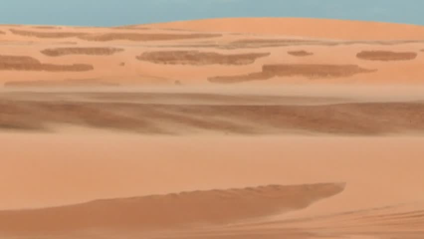 Desert landscape. Sahara winds blowing sand. Arid and dry landscape of desert. Blowing sand in mountain dunes | Shutterstock HD Video #24882320