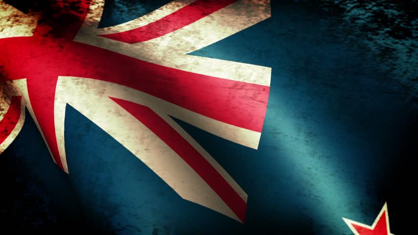 New Zealand Flag Waving, grunge look