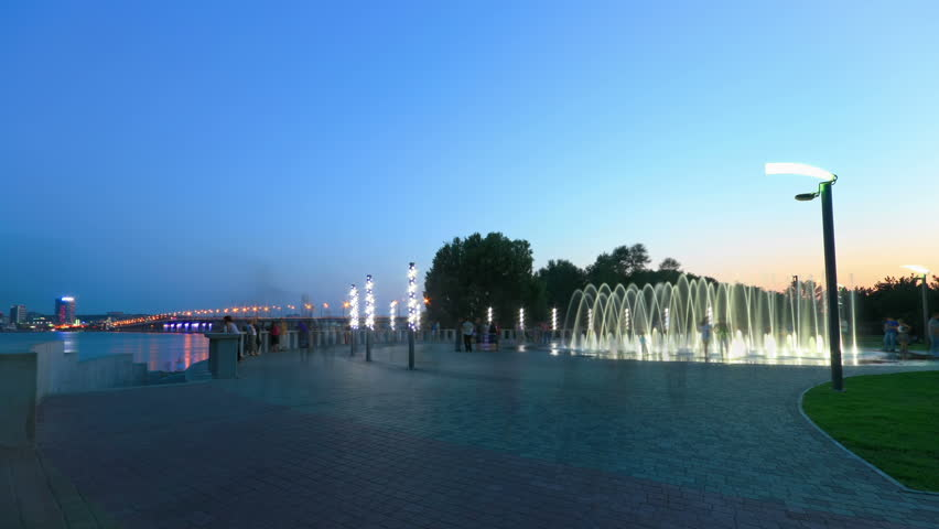 time lapse of night fountain on the waterfront of Dnepropetrovsk. Ukraine.