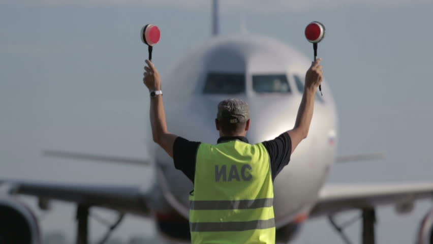 Aircraft traffic controller at the airport