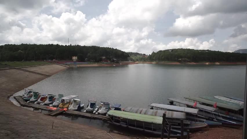 DA LAT, VIETNAM, Sep 23, 2015: Tranquil landscape of Dalat city, apart of Ho Xuan Huong lake in Dalat, Viet Nam | Shutterstock HD Video #25002857