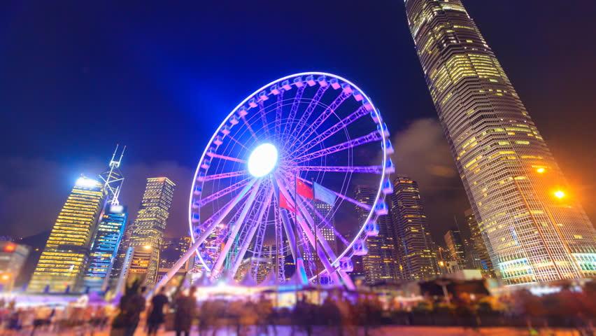 Night Hong Kong Observation Ferris Wheel Landmark Travel Places Of Hong Kong 4K Time Lapse (tilt up) | Shutterstock HD Video #25035158