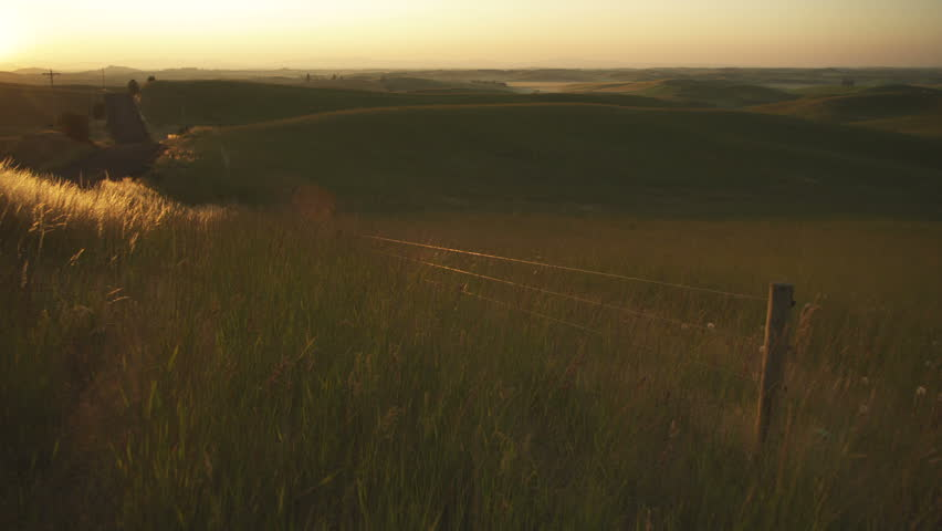 Sun setting over country road and wheat fields. - HD stock footage clip