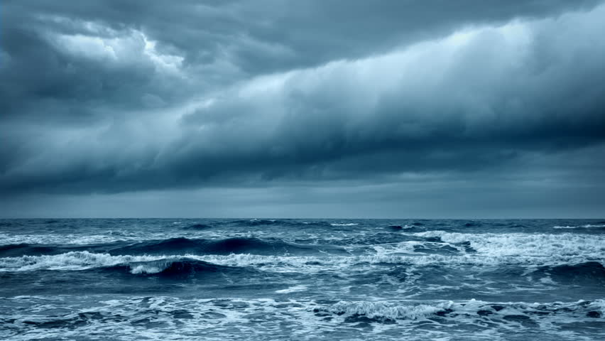 Stormy Rough Sea before Thunder. Cold Gray Ocean. Dramatic Dark Sky with Thundery Clouds. Epic Storm Cloudscape Moving Forward. Wild Nature Concept. | Shutterstock HD Video #25044122