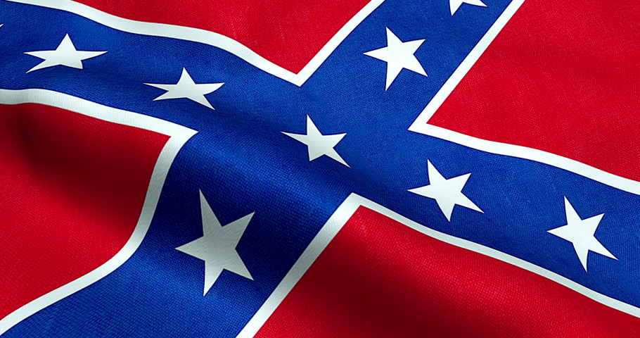 Closeup of animation waving confederate flag of the national states of america us, fabric texture american symbol sign | Shutterstock HD Video #25059512