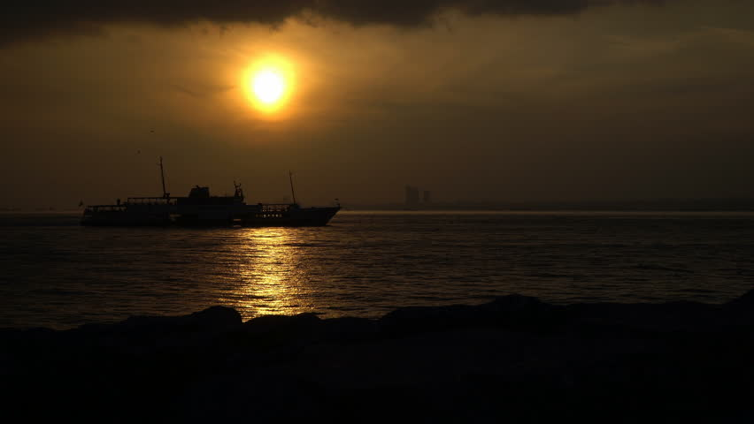 Silhouette of A Transportation Ship at Istanbul   Shutterstock HD Video #25125095