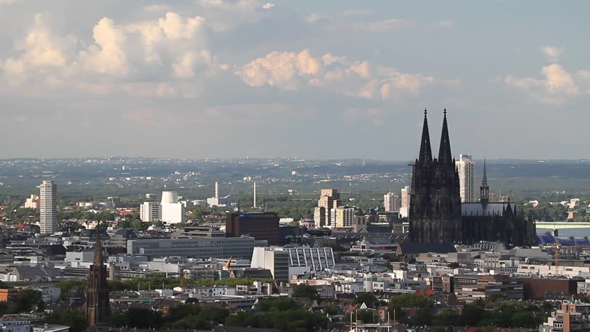 Skyline Cologne City with Cologne Cathedral - World cultural heritage   Shutterstock HD Video #2512523