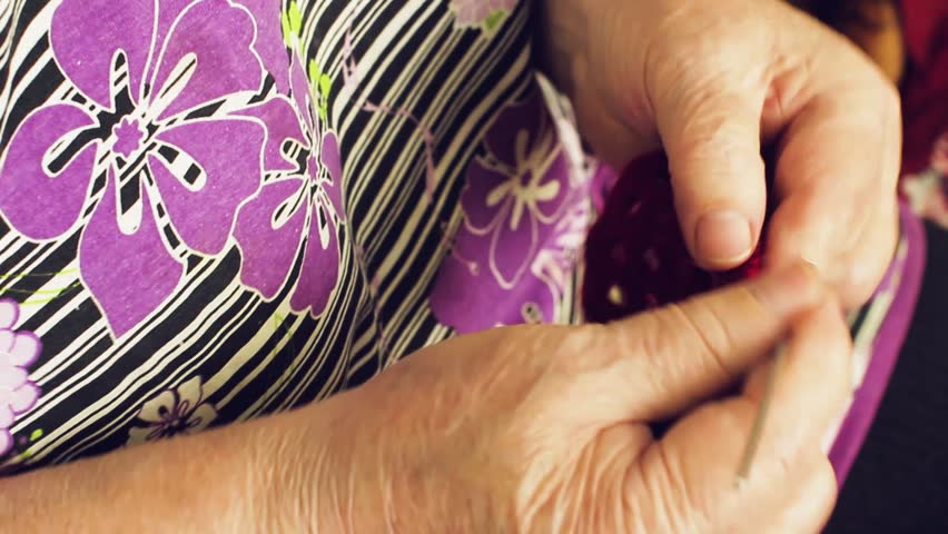 The old woman knits crochet | Shutterstock HD Video #25126418