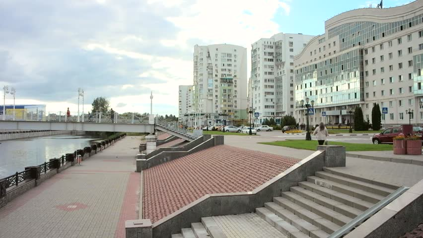 BELGOROD, RUSSIA - August 31.2016: Embankment of the Vezelka River, temple of Saint Gabriel and building of the State university | Shutterstock HD Video #25156163