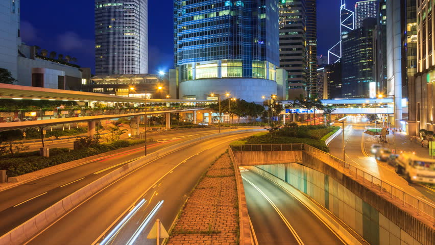 Hong Kong Night Traffic Cityscape 4K Time Lapse (zoom out) | Shutterstock HD Video #25161698