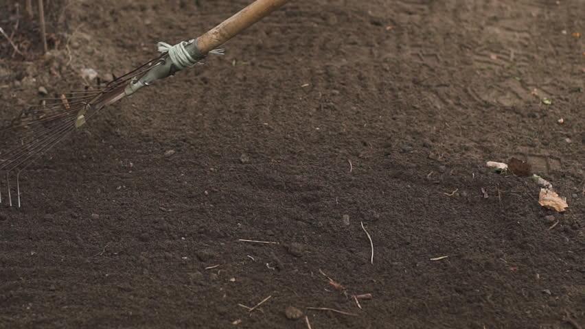 Gardener wearing rubber boots raking soil on sunny day. Slow motion | Shutterstock HD Video #25182002