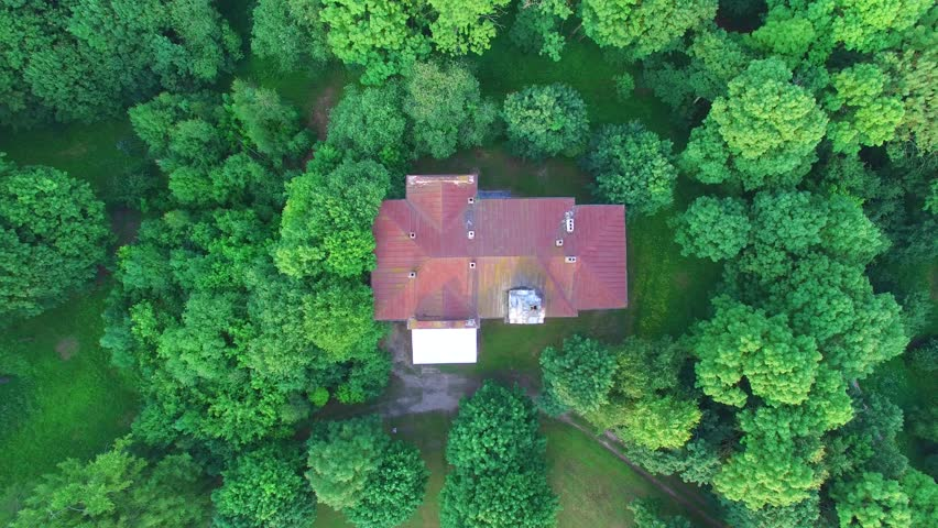 Aerial view of manor ruins, Lithuania. A beautiful summer evening from the air | Shutterstock HD Video #25184594