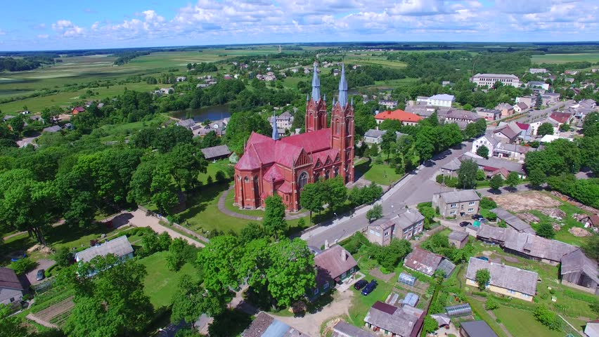 Aerial shot of Kretinga village church in Lithuania | Shutterstock HD Video #25185098