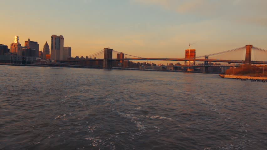 Barge Passing New York City At Sunset | Shutterstock HD Video #25187483