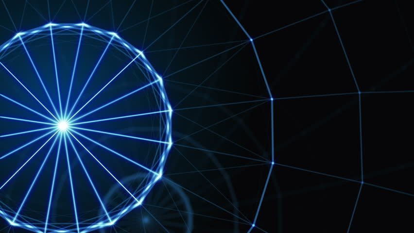 Plexus of abstract lines, triangles and dots. Ferris wheel. Loop animations. | Shutterstock HD Video #25208732