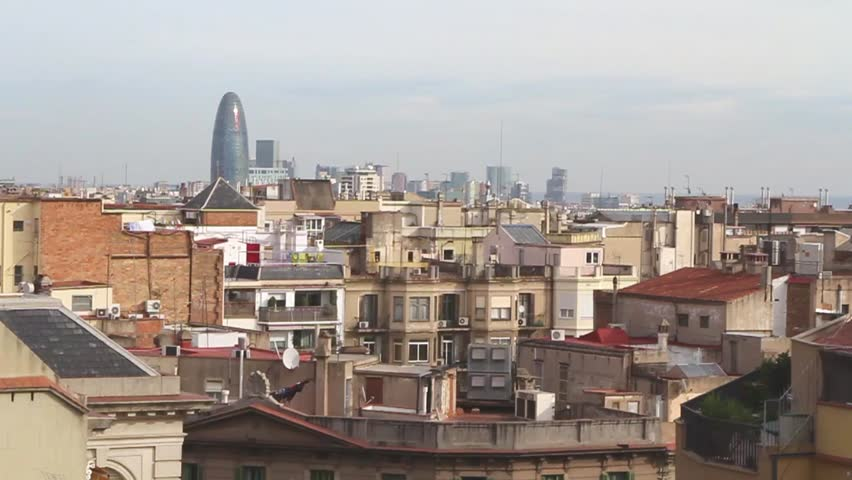 Beautiful landscape of the center of Barcelona . Travel and Business hd video | Shutterstock HD Video #25216643