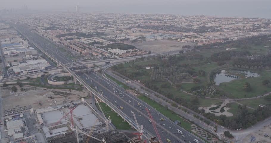 A far away aerial view of a highway in dubai | Shutterstock HD Video #25229864