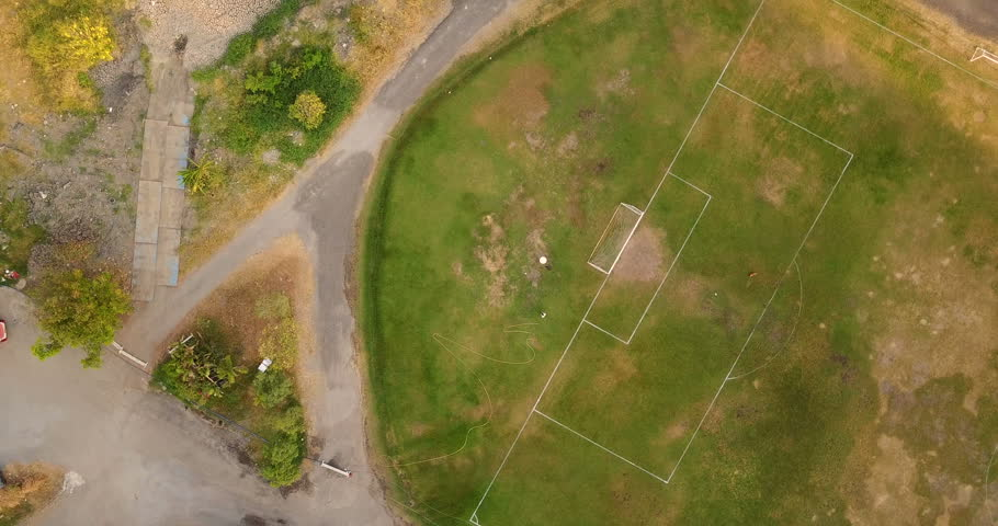 The Football Field with green grass, Aerial Top View | Shutterstock HD Video #25230017