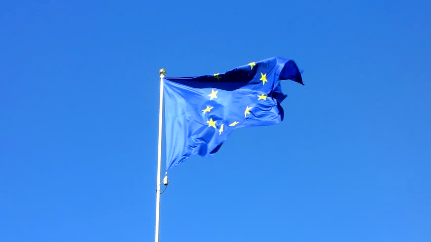 Flag of the European Union waving on the wind | Shutterstock HD Video #25243175