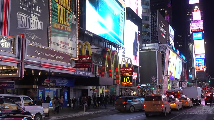 New York, USA -March 18 ,2017: Times Square buildings, New York City at night with Ambulance and Fire Fithters. Is one of the world's most popular attractions with nearly 40 million visitors annually. | Shutterstock HD Video #25247828