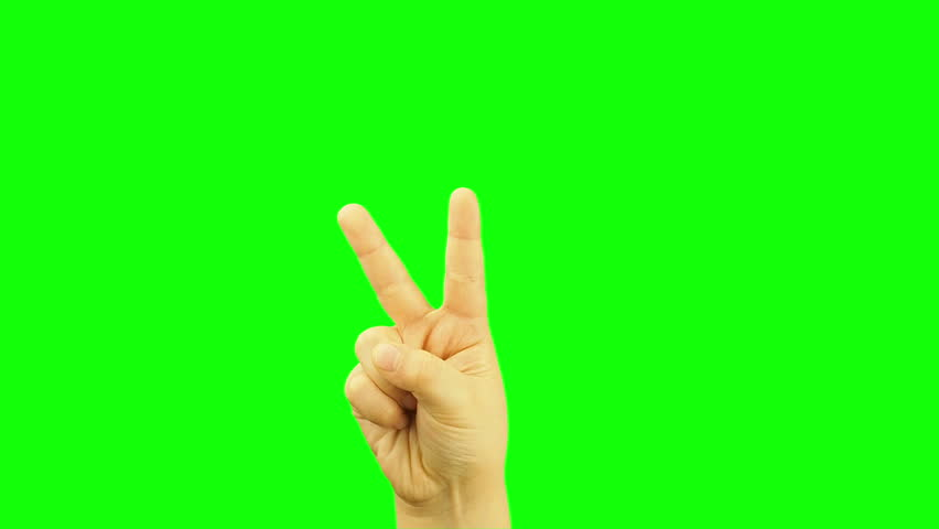 Kid or child hand sign victory or two or scissor gesture isolated green screen  | Shutterstock HD Video #25252103