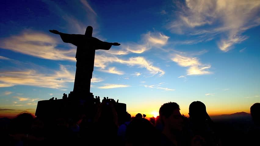Christ the Redeemer statue in rio de janeiro in brazil  - HD stock footage clip